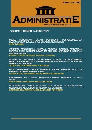 View Vol. 3 No. 1 (2020): ADMINISTRATIE: JURNAL ADMINISTRASI PUBLIK
